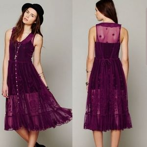 Intimately Free People Purple Sheer Lace Duster